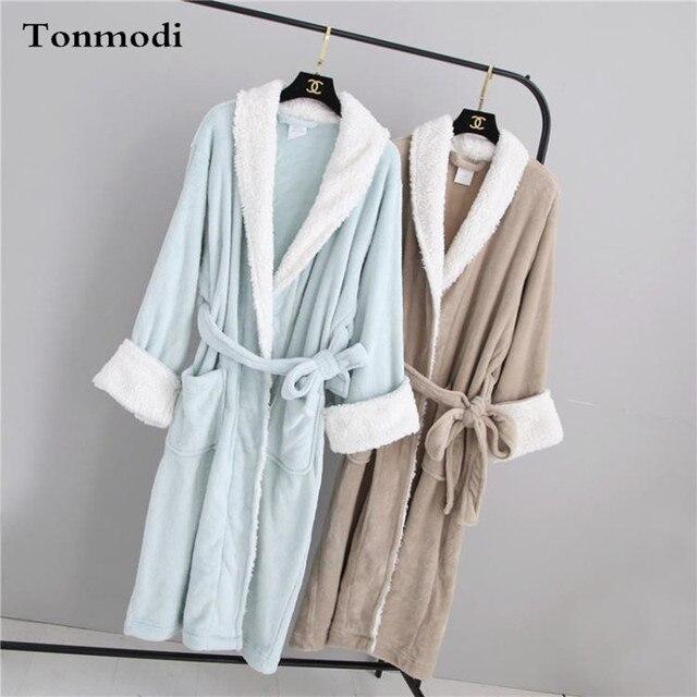 Ночная рубашка Для женщин Осенью и зимой коралловые любители сплошной цвет длинный халат халаты теплый
