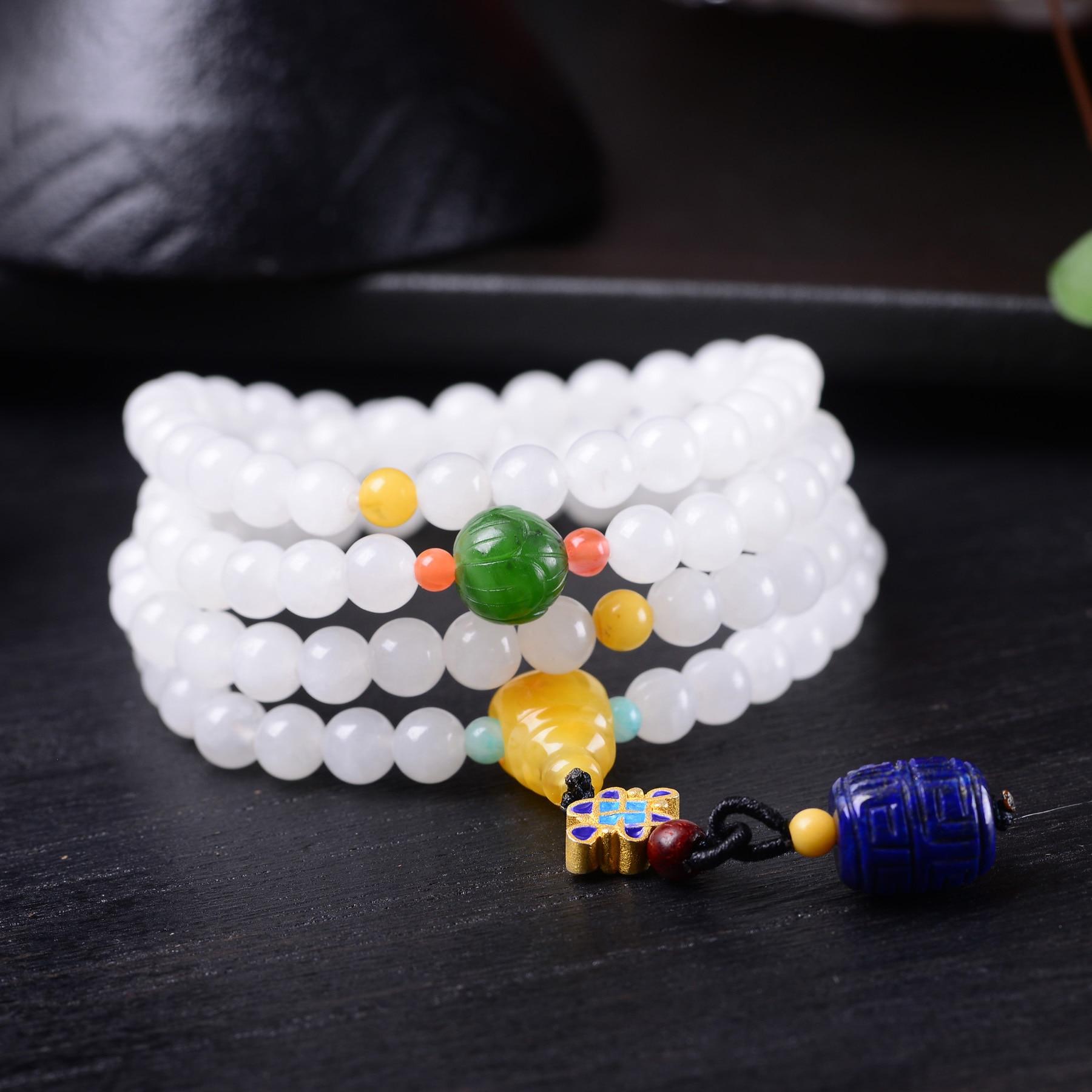 Handmade Authentic Hetian Beads Bracelets 6.5mm handmade authentic hetian crystal budda bracelets
