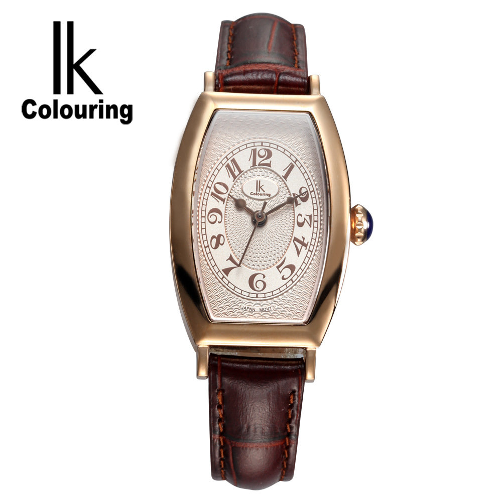 купить IK Luxury Women's Girl Sapphire Tonneau Quartz Watches Day Genuine Leather Wristwatch Gift Box Free Ship по цене 2957.89 рублей