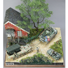 цена 1/35 Scale WWII Soldier Wood Cabin Ruined Corner War House Model Layout DIY онлайн в 2017 году