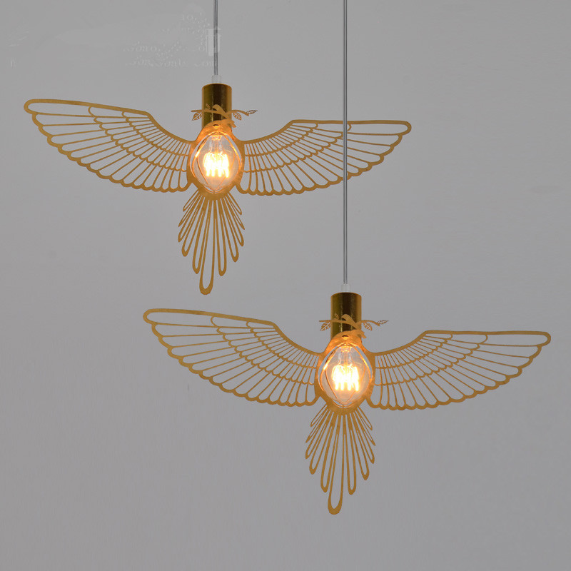 Modern contracted creative personality Chinese style restaurant living room study bedroom balcony Decorative bird droplight european contracted pendant lights skirt tail aluminium droplight household decorative home restaurant decorative lighting