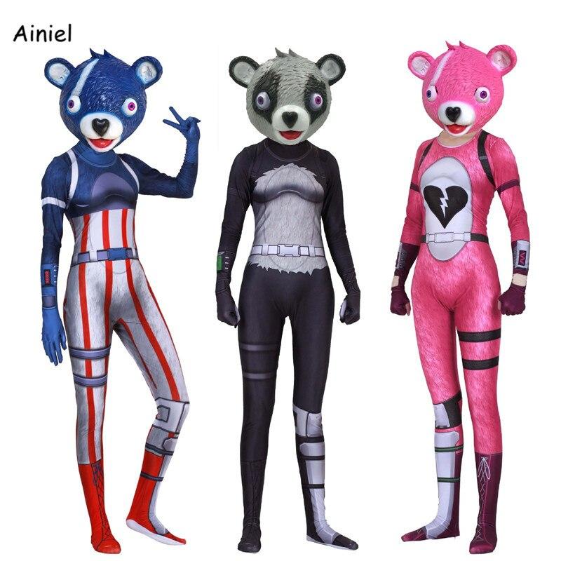 Fortnight Blue Pink Grey Panda Bear Rose Cosplay Costume Mask Full Face Adult Zentai Bodysuit Halloween Costume Mask  Women Kids