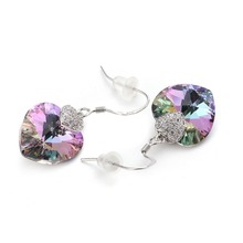 Women Crystal Swarovski Heart 925 Silver Sterling Drop Earring
