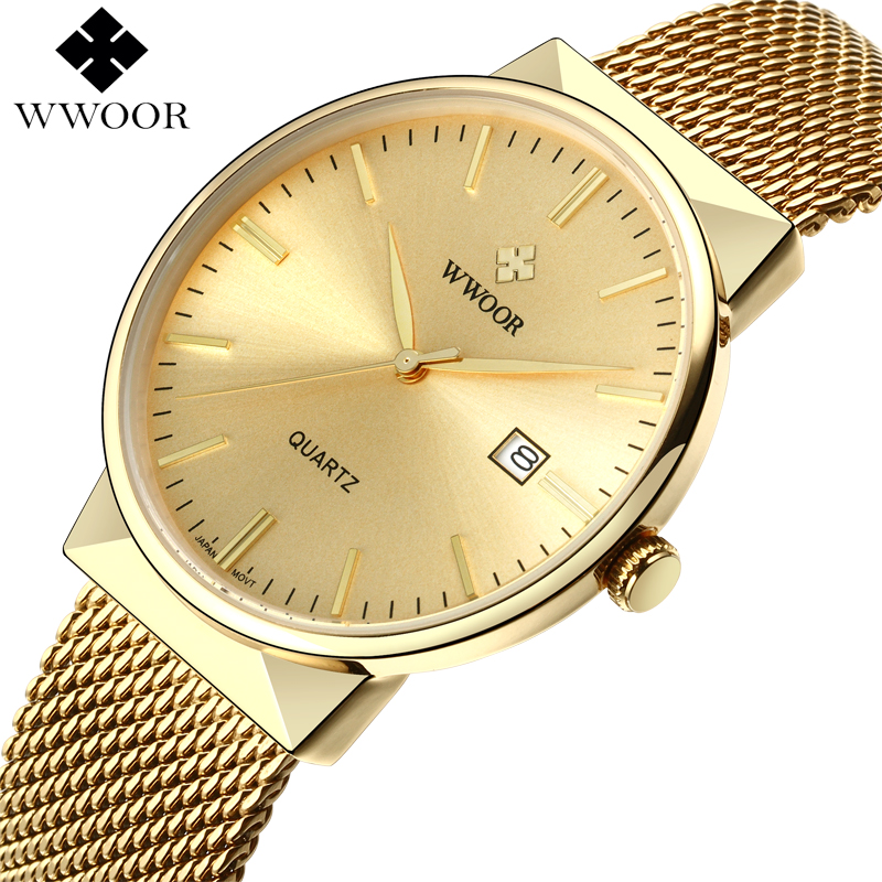 WWOOR Brand Luxury Men Waterproof Stainess Steel Casual Gold Watches Men's Quartz Sport Wrist Watch Male Clock relogio masculino wwoor waterproof ultra thin date clock male stainess steel strap casual quartz watch men wrist sport watch 3 colors