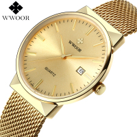 WWOOR Brand Luxury Men Waterproof Stainess Steel Casual Gold Watches Men S Quartz Sport Wrist Watch