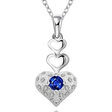 Silver plated gorgeous Fashion charming popular exquisite love heart women Zircon necklace noble luxury silver jewelry N640