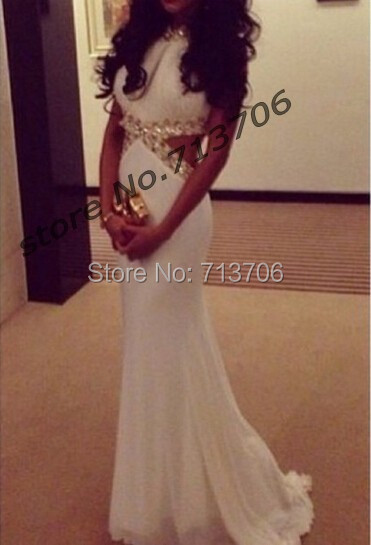 4e682d4d719 Elegant white prom dresses 2017 mermaid open back sexy beaded Long party  dresses evening dress