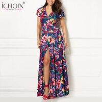 Lange Abendgesellschaft Sommerkleid 2018 Frauen Elegante Gürtel V-ausschnitt Mantel Sexy Kleider Bodycon Gelb Floral Beach Kleid vestidos