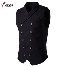 Hot Sale  Vests And Slim Masculino Cotton Double Breasted Sleeveless Jacket Waistcoat Collar Men Suit