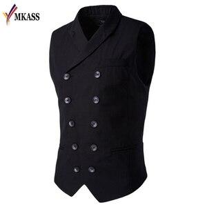 Image 1 - ขายร้อน Mens เสื้อและเสื้อกั๊ก Slim Masculino ฝ้ายคู่เสื้อแขนกุด Waistcoat ชุดสูทเสื้อสูทชายเสื้อกั๊ก