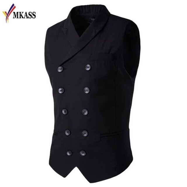ขายร้อน Mens เสื้อและเสื้อกั๊ก Slim Masculino ฝ้ายคู่เสื้อแขนกุด Waistcoat ชุดสูทเสื้อสูทชายเสื้อกั๊ก