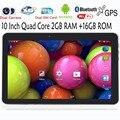 Original 10 Polegada WiFi GPS Bluetooth FM 2G + 16G Tablets Pc Embutido 3G Phone Call Quad Core Android Android 4.4 2 GB RAM 16 GB ROM