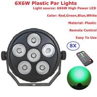 8 قطعة/الوحدة رخيصة الثمن 6X6W RGBW 4IN1 غير إضاءة مقاومة للماء الاسمية أضواء داخلي شقة LED الاسمية علب التحكم عن بعد منخفضة الضوضاء البسيطة حجم-في تأثير إضاءة المسرح من مصابيح وإضاءات على