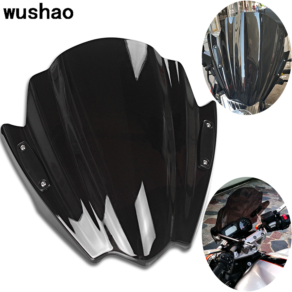 Parabrisas Moto Universal Motorcycle Windshield Windscreen 7/8 & 1 Handlebar For Benelli Honda Kawasaki Suzuki Yamaha FZ6