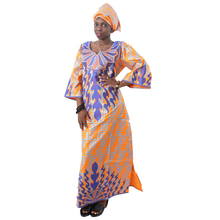 MD african women clothing dashiki dress set embroidery design lady dresses with headtie traditional womens bazin clothes
