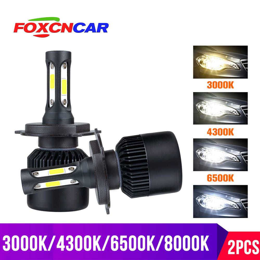 Foxcncar 3000K H4 LED H7 H11 H8 HB4 H1 H3 HB3 Auto S2 Car Headlight Bulb 72W 8000LM Car Styling 6500K 4300K 8000K led automotivo