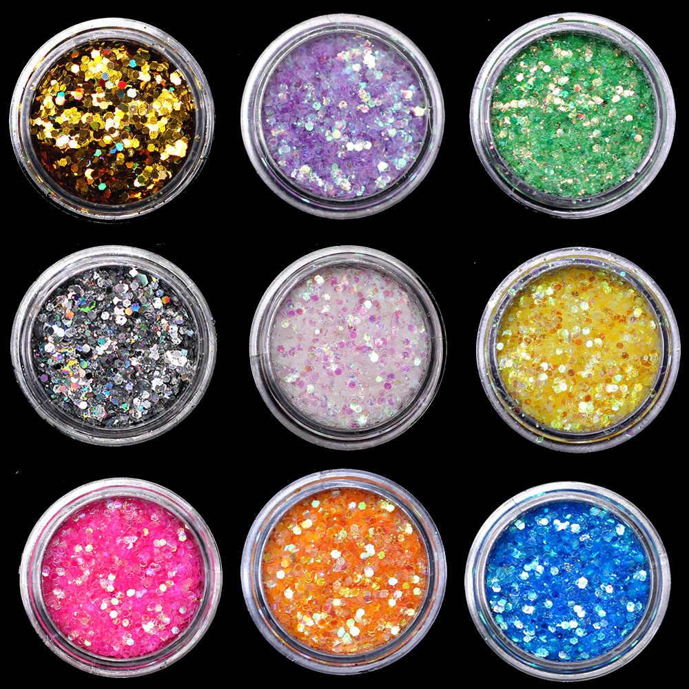 1 pcs AB Prego Lantejoulas Flocos De Lua Estrela Coração Unhas de Gel Prego Rodada Glitter Holográfico Pigmento Nail Art Decoração m1a505