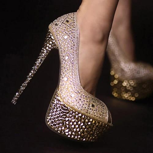 Women Rhinestone Peep Toe Platform Stiletto High Heels Gold Wedding Shoes Silver Bridal Shoes Shoes Oversize Shoes Englandshoes Cloth Aliexpress