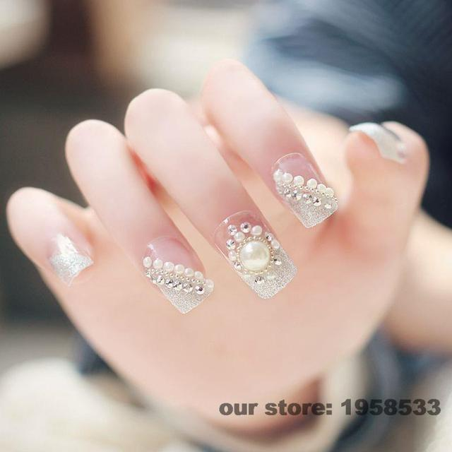 24pcs Clear Silver Glitter Dust Gems Rhinestones Pre Design Acrylic 3D Wedding Style False Nail Tips