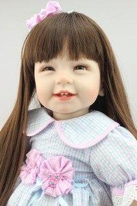 Image 4 - NPK Búp Bê Em Bé với mái tóc dài Thực Tế Silicone Mềm Tái Sinh Bé Gái 22Inch Đáng Yêu Bebe Trẻ Em Brinquedos boneca đồ chơi
