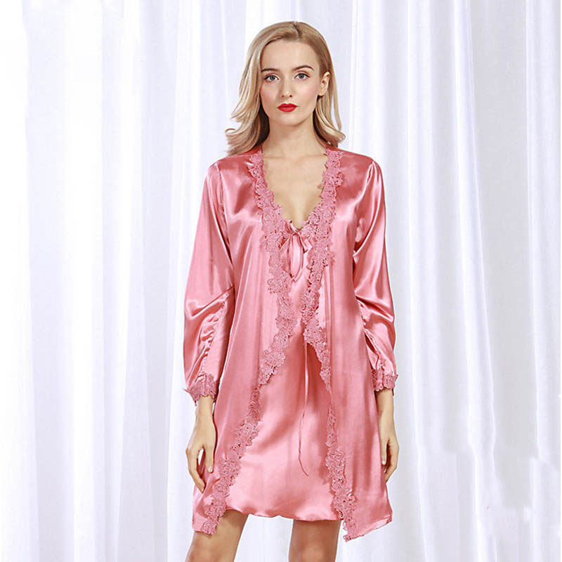 summer sexy robe lounge female robe gown set women's sleep large size bridesmaid nightwear sleepwear 4 colors two piece homewear