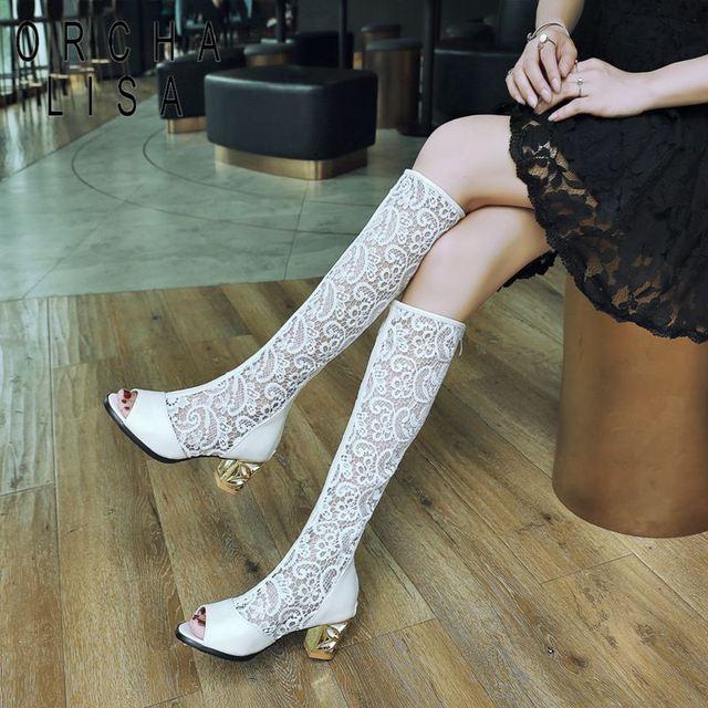 ORCHA LISA botas de verano para mujer botas hasta la rodilla tacones medio Peep toe Net negro encaje moda nieve flor brillo Sexy gran A697c