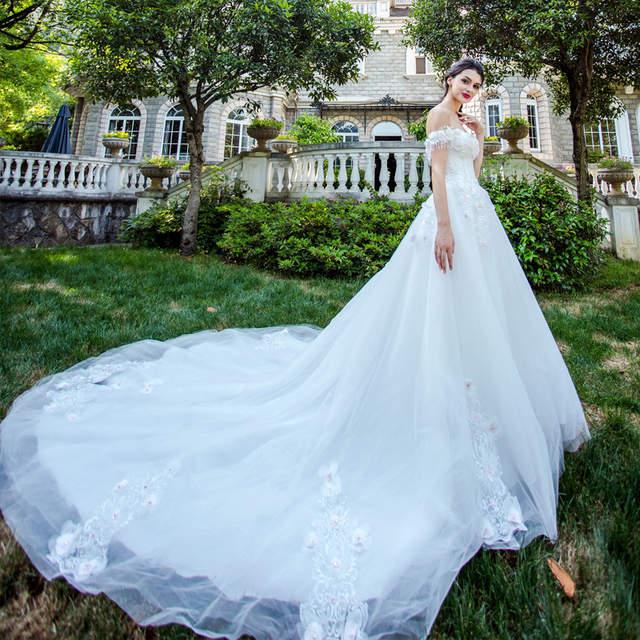 placeholder Beauty Emily Angel Luxury Pears White Wedding Dresses 2017  A-line Chapel Train Fantasy Flowers a94153cee45e