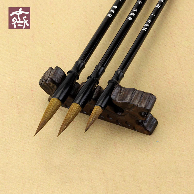 3Pcs/set Calligraphy Brushes Weasel Hair Chinese Writing Brush Medium Regular Script Brush Pen For Watercolor Brush Stationery