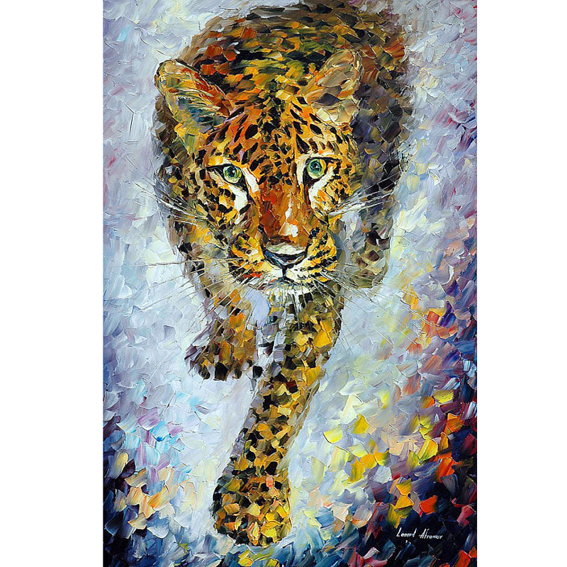 Hand Painted Landscape Abstract Animals Leopard Palette font b Knife b font Modern Oil Painting Canvas