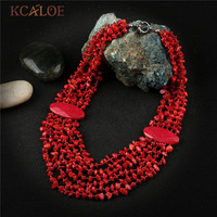 KCALOE Bohemia Ethnic Red Necklace Pendant Multi Layer Irregular Natural Coral Stone Jewelry Statement Necklaces Women