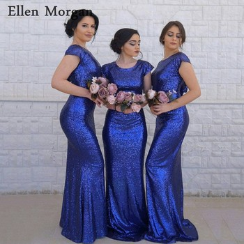 Royal Blue Sequined Mermaid Bridesmaid Dresses for Wedding Party Adult Girls Cap Sleeves Long Cheap Formal Gowns 2019