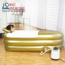 In his large inflatable bathtub thickening adult warm tub folding steam bath box FREE SHIPPING