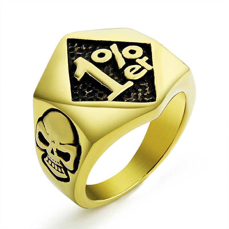 EdgLifU Gold-Color Cool Men 1% er Кольцо Punk Skull Biker Ring - Модные украшения