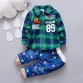 2016 New Baby Spring Gentleman Plaid Set Newborn Baby Shirt + Jeans Fashion Party Set