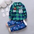 2016 Nuevo Bebé Caballero Primavera Conjunto Bebé Recién Nacido Camisa A Cuadros + Jeans Fashion Party Set