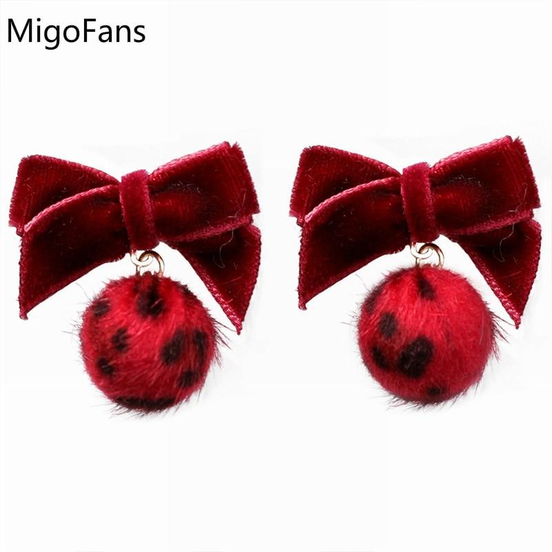 Fashion Sweet Small Leopard Print Hair Balls Pendant Sexy Short Earrings Ribbon Bowknot Dangle Earrings