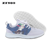 Harajuku Women Casual Ladies Game Heroes Alliance shoes Pink and white pattern women's Lace Up BasicMesh (Air mesh) shoes