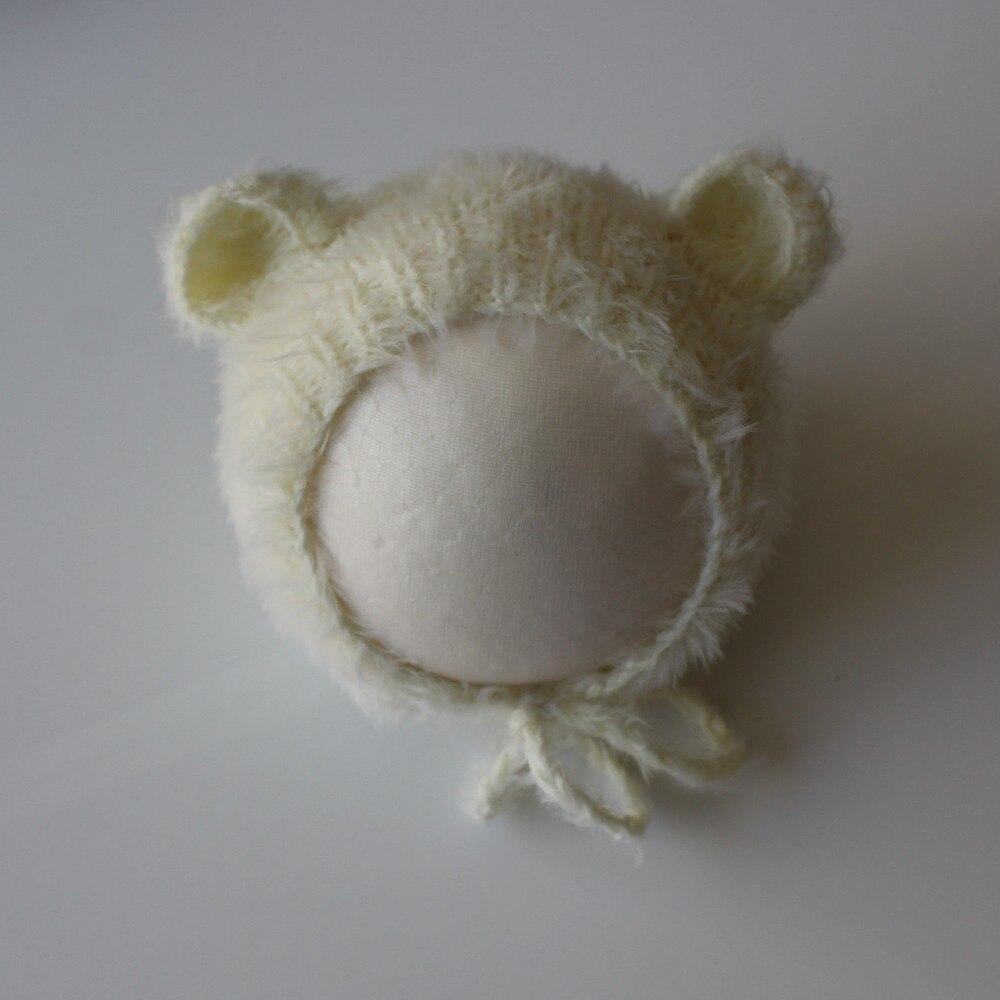 Newborn Photo Prop Newborn Mohair Bear Bonnet Newborn Baby Bear Hat Hand Knitted Baby Photography Props
