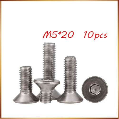 Free shipping 10pcs M5*20mm M5X20 304 Stainless steel Flat Screws Inner Hexagon Socket Countersunk Head stainless nails,boltsFree shipping 10pcs M5*20mm M5X20 304 Stainless steel Flat Screws Inner Hexagon Socket Countersunk Head stainless nails,bolts