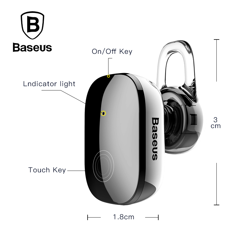 Baseus Mini Wireless Bluetooth Earphone For iPhone 5 6 7 Samsung S8 In-Ear Stereo Wireless Bluetooth Earpiece Headset With Mic baseus magnetic bluetooth earphone for iphone 7 samsung s8 wireless sport running stereo in ear earbuds headset mp3 mp4 earpiece
