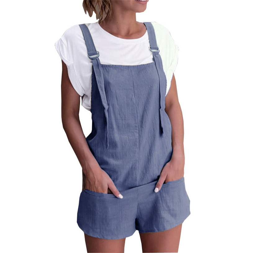 Womail 2018 Summer Elastic Waist Short Jumpsuit Women Flare Sleeve Sexy Strapless Dungarees Linen Cotton Pockets Rompers