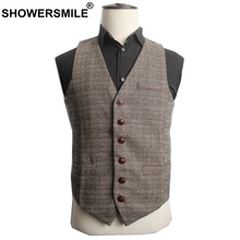 SHOWERSMILE Autumn Brown Suit Vest Men Woolen British Style Tweed Slim Fit Waistcoat Button Dress Vest Male 4XL Gilet Jacket showersmile mens double breasted vest suit black dress waistcoat for men slim fit sleeveless jacket male spring autumn gilet