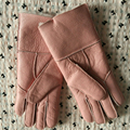 Besty New Women  Real Fur Gloves 24CM Fashion Genuine SheepSkin Glove Luxury Brand Mittens with warm real wool lining