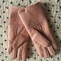 Besty Nuevas Mujeres Guantes de Piel Real 24 CM Moda Guante de piel de Oveja Genuina Marca de Lujo Mitones con cálido forro de lana real