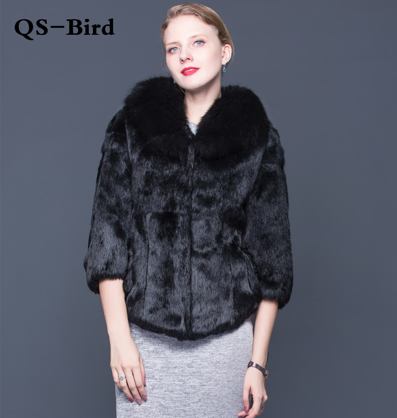 2018 Winter New Whole Skin Rex Rabbit Fur With Fox Fur Collar And long Sections fur Coat Multicolor Multiple Choice image