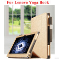 "SD Luxury Gold Black Flip PU Leather Book Cover Protective With Magnetic Cases Stand Case For Lenovo Yoga Book 10.1"" Tablet PC"