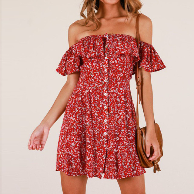 2019 NEW Womens one-shoulder strapless flower print sleeveless casual loose mini dress fashion dress Free express 3.12