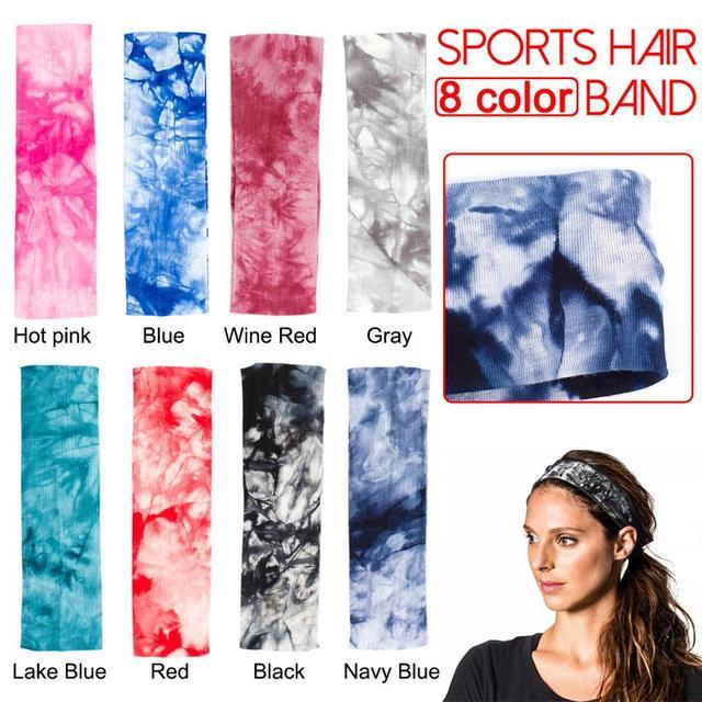 Deportes Fitness sudor Yoga elástico banda para el cabello lazo tinte algodón estampado diadema