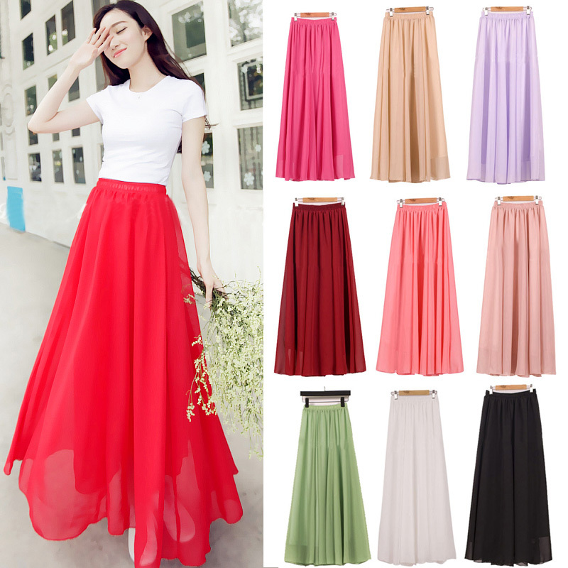 2020 Elegant Solid Long Skirt Women Summer Ladies Saia Longa Korean Red Black Faldas High Waist Pleated Maxi Skirt Female
