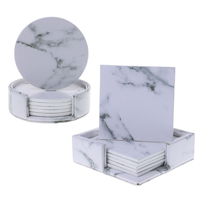 6pcs/set Marble Leather Round Square Drink Coasters Placemat Cup Mat Pad Holder Kitchen Tableware